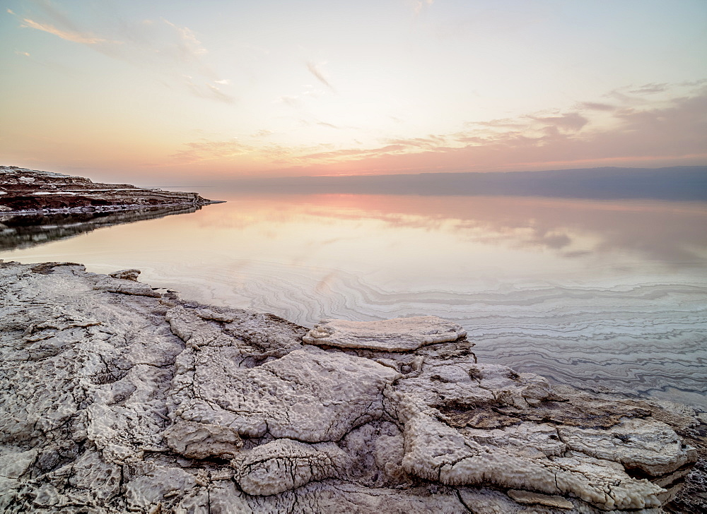 Salt formations on the shore of the Dead Sea at dusk, Karak Governorate, Jordan, Middle East