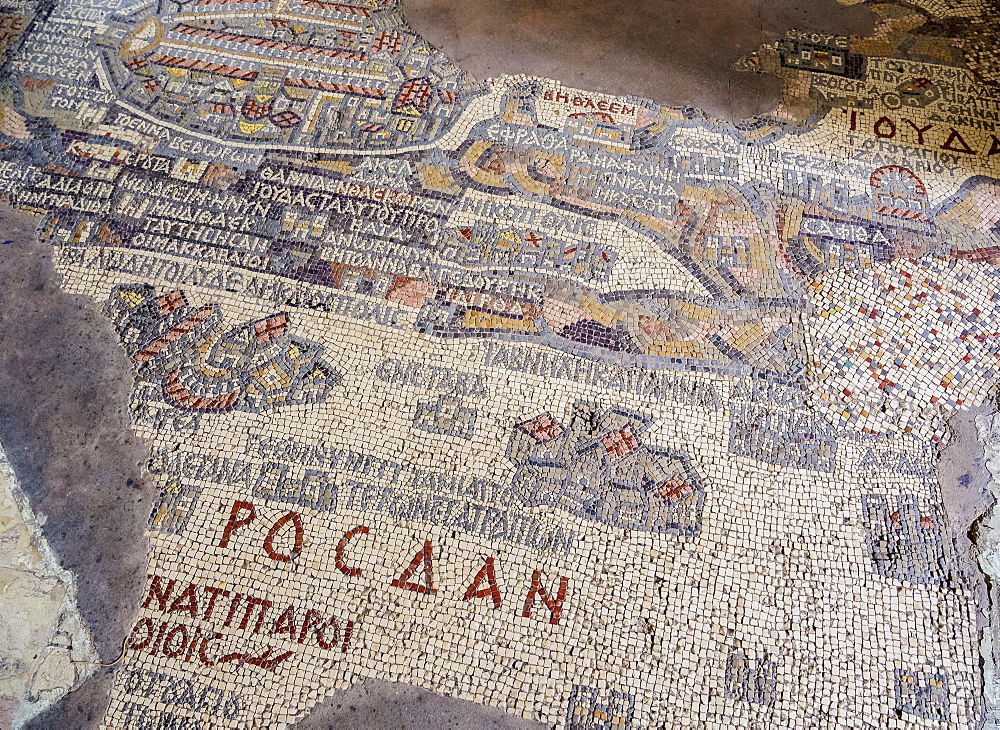 Madaba Mosaic Map, Greek Orthodox Basilica of Saint George, Madaba, Madaba Governorate, Jordan, Middle East