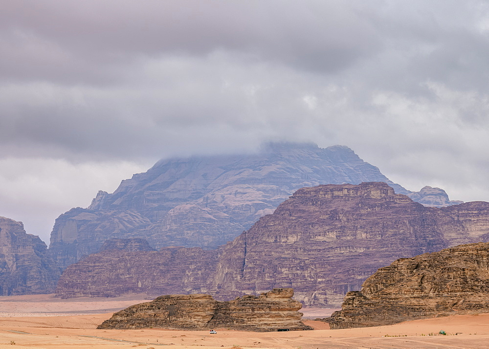 Landscape of Wadi Rum during stormy day, Aqaba Governorate, Jordan, Middle East