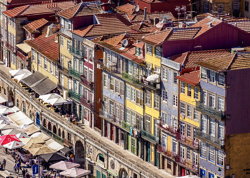Colourful houses of Ribeira, elevated view, Porto, Portugal, Europe