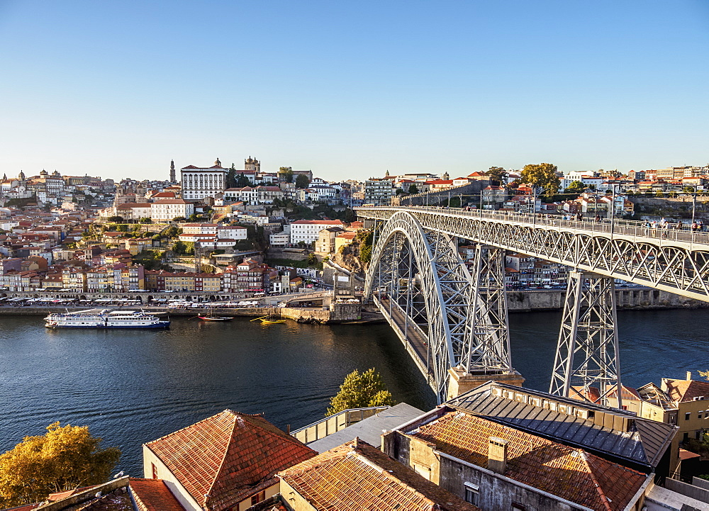 Dom Luis I Bridge, elevated view, Porto, Portugal, Europe