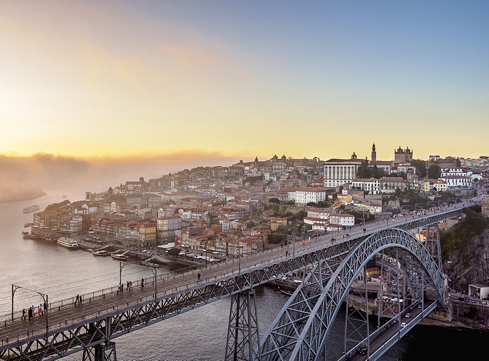 Dom Luis I Bridge at sunset, elevated view, Porto, Portugal, Europe