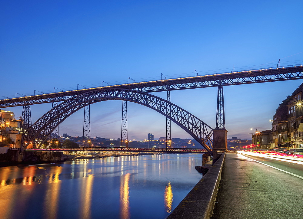 Dom Luis I Bridge and Douro River at dusk, Porto, Portugal, Europe