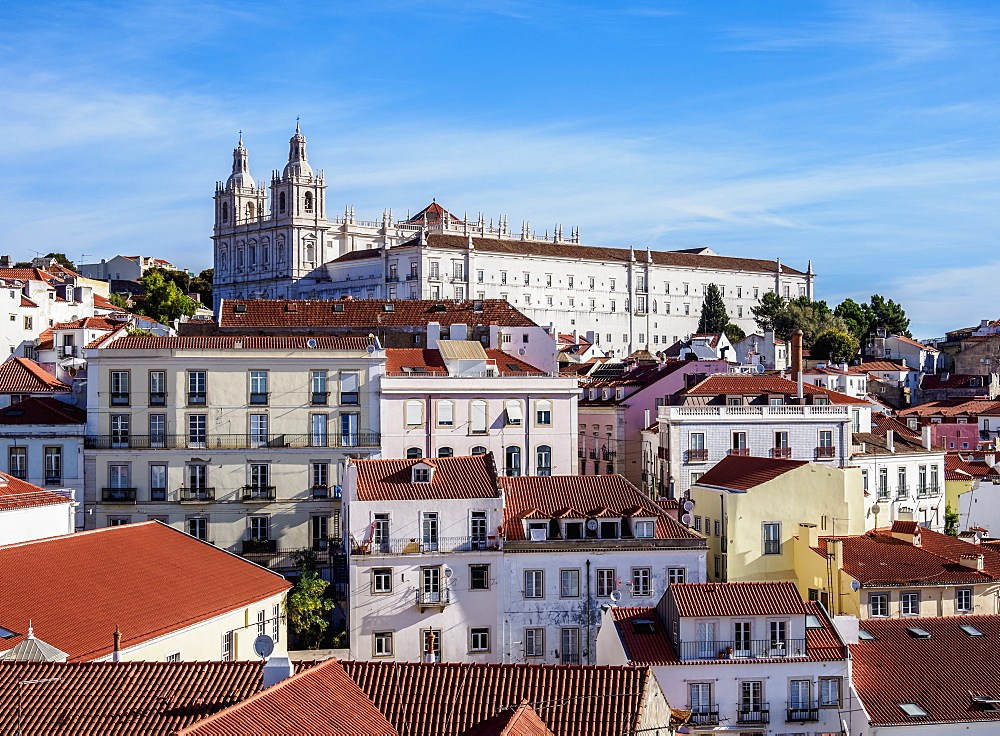 View towards the Monastery of Sao Vicente de Fora, Miradouro das Portas do Sol, Alfama, Lisbon, Portugal, Europe