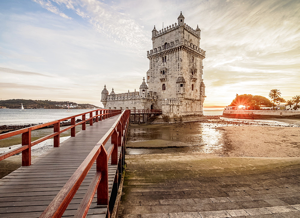 Belem Tower at sunset, UNESCO World Heritage Site, Lisbon, Portugal, Europe
