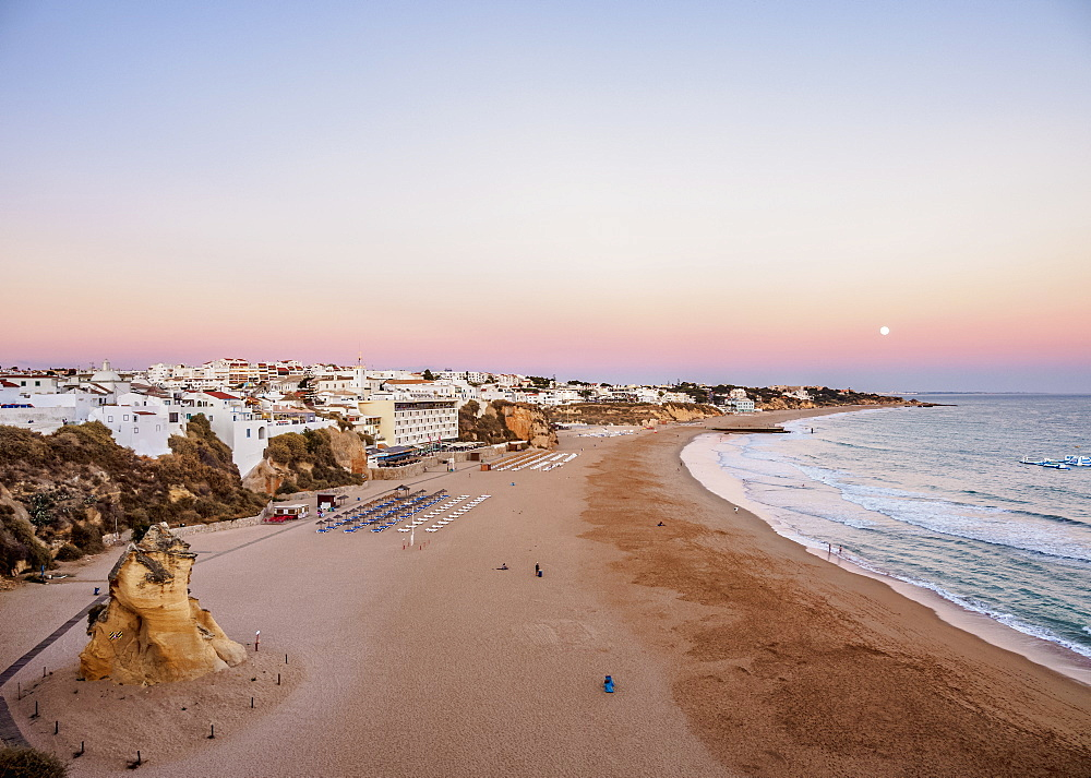 Paneco Beach at dusk, elevated view, Albufeira, Algarve, Portugal, Europe
