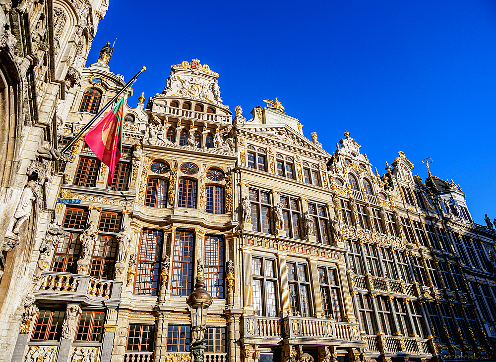 Houses at Grand Place, UNESCO World Heritage Site, Brussels, Belgium