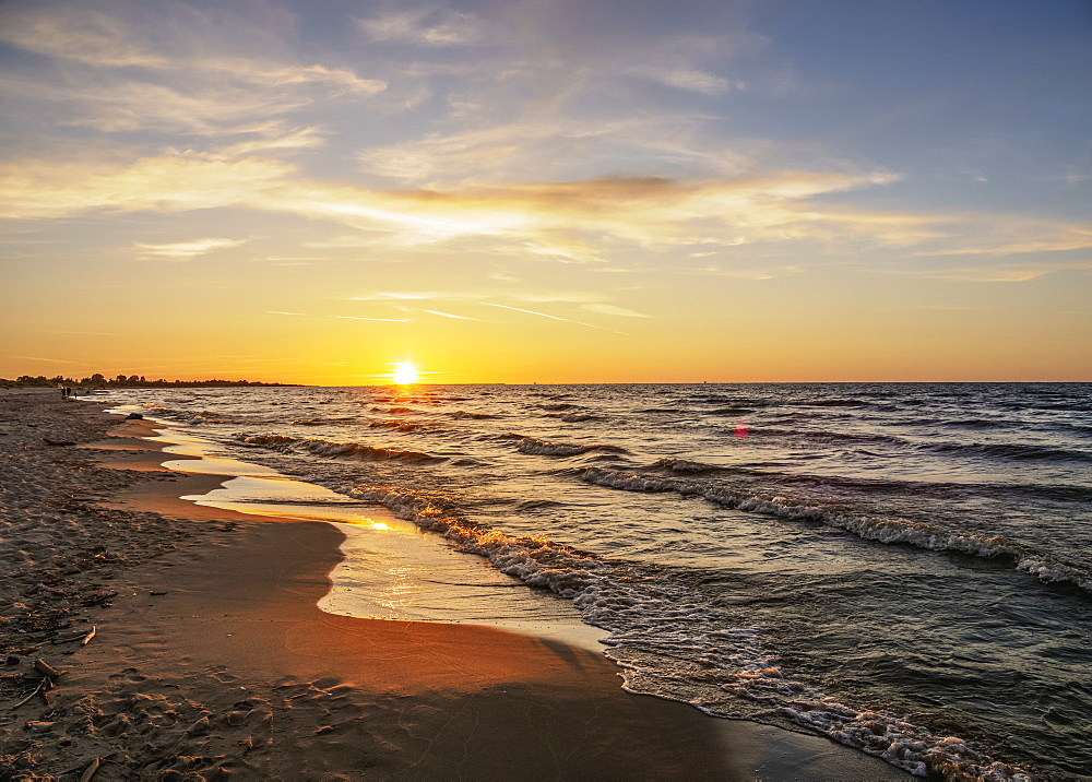 Baltic Sea at sunset, Mikoszewo, Pomeranian Voivodeship, Poland, Europe