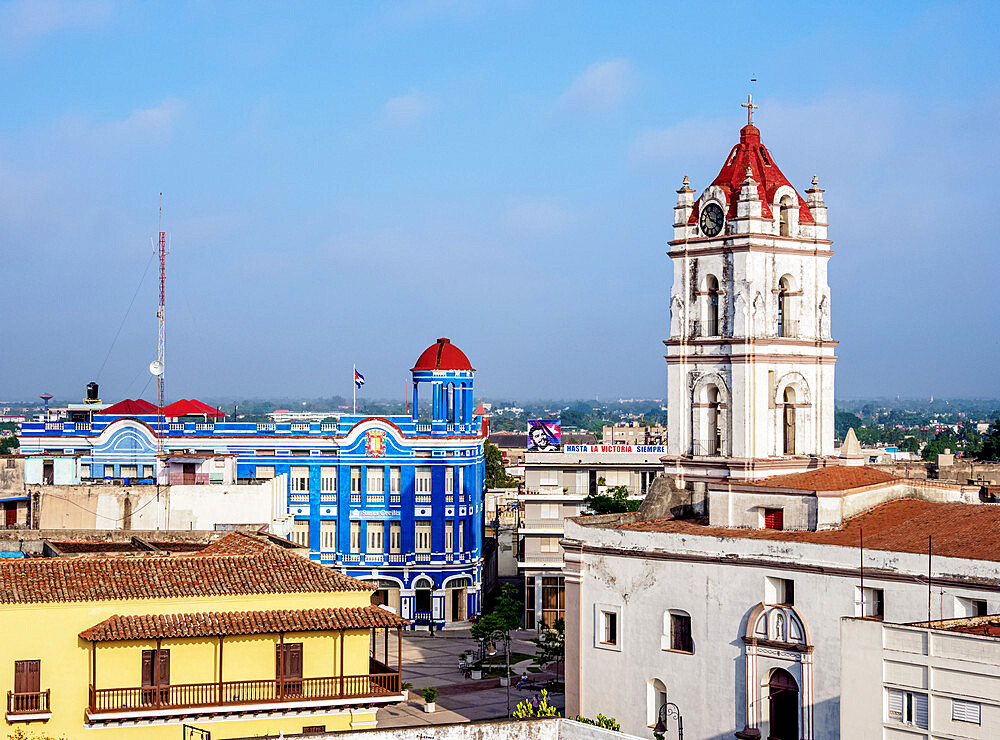 View towards Nuestra Senora De La Merced Church and Plaza de los Trabajadores, Camaguey, UNESCO World Heritage Site, Camaguey Province, Cuba, West Indies, Caribbean, Central America - 1245-1837