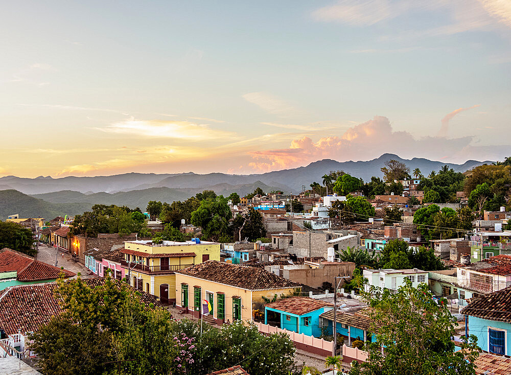 Townscape at sunset, elevated view, Trinidad, Sancti Spiritus Province, Cuba