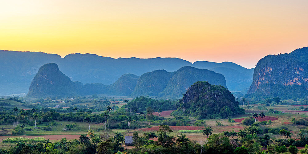 Vinales Valley at sunset, elevated view, UNESCO World Heritage Site, Pinar del Rio Province, Cuba, West Indies, Caribbean, Central America