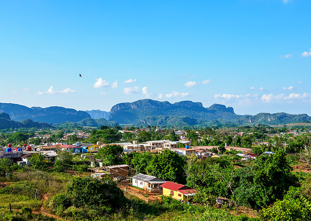 Vinales Town and Valley, elevated view, UNESCO World Heritage Site, Pinar del Rio Province, Cuba