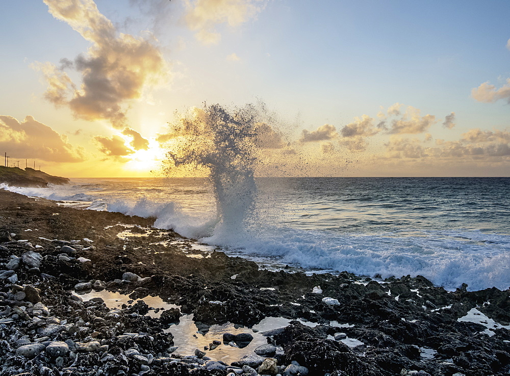 The Blowholes at sunrise, East End, Grand Cayman, Cayman Islands, Caribbean, Central America