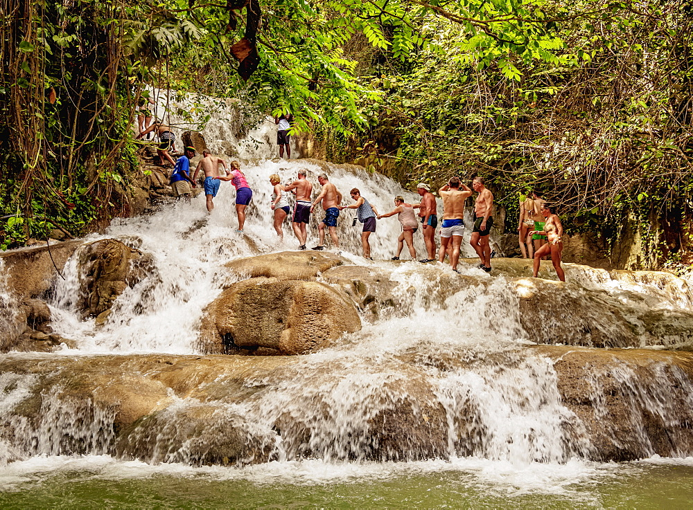People climbing Dunn's River Falls, Ocho Rios, Saint Ann Parish, Jamaica, West Indies, Caribbean, Central America