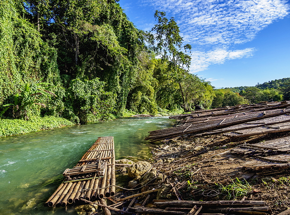 Rafts at the river bank of Martha Brae, Trelawny Parish, Jamaica, West Indies, Caribbean, Central America