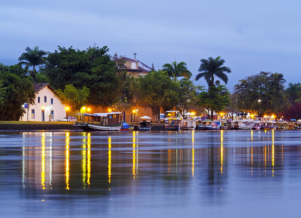 Twilight view over the River Pereque Acu towards the Nossa Senhora dos Remedios Church, Paraty, State of Rio de Janeiro, Brazil, South America - 1245-209
