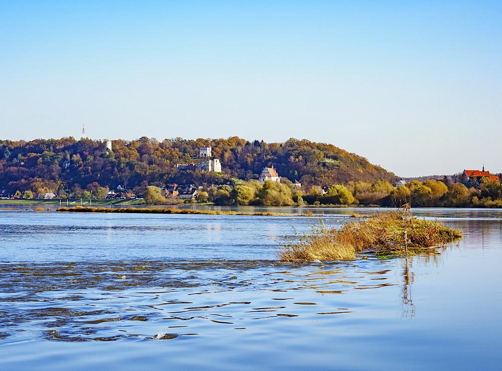 View over Vistula River towards Kazimierz Dolny, Lublin Voivodeship, Poland, Europe - 1245-2124