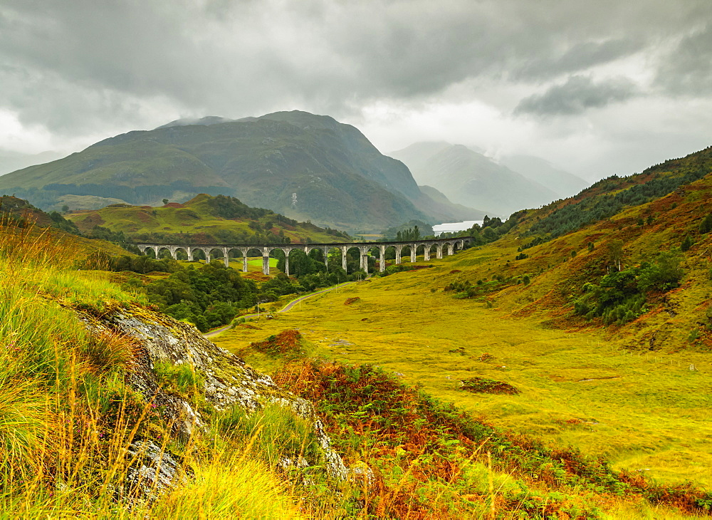 View of the Glenfinnan Viaduct, Highlands, Scotland, United Kingdom, Europe