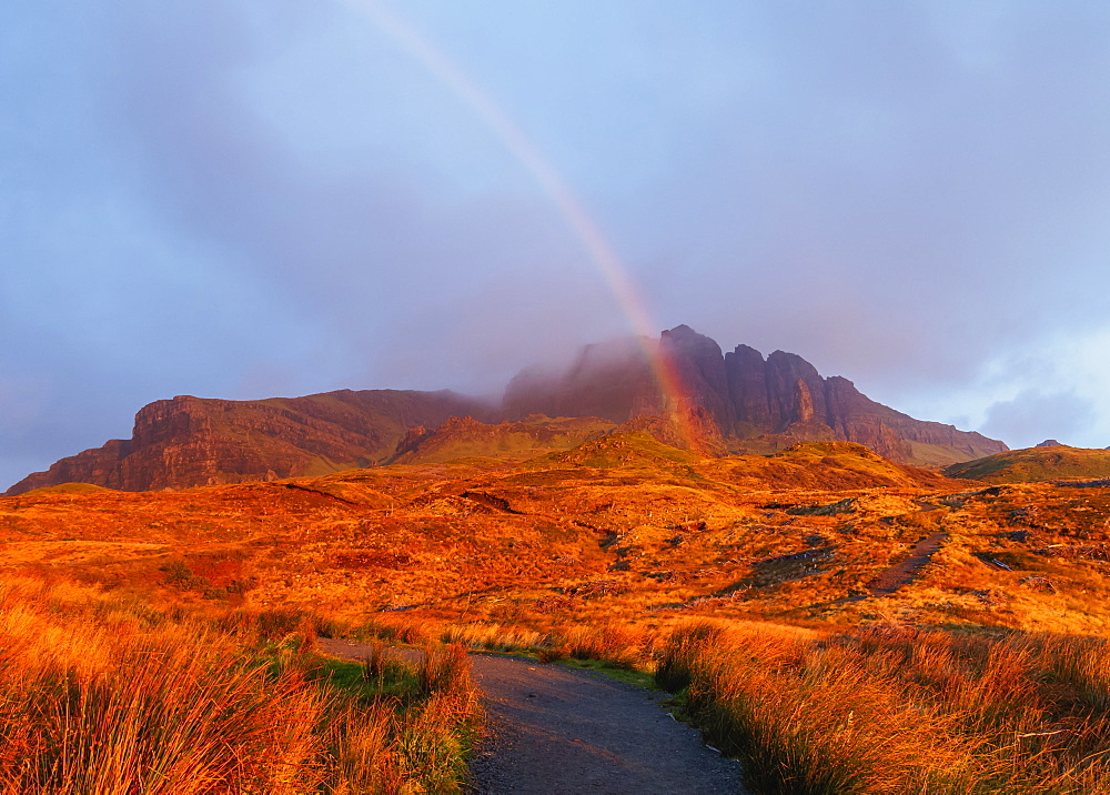 View of The Storr at sunrise, Isle of Skye, Inner Hebrides, Scotland, United Kingdom, Europe