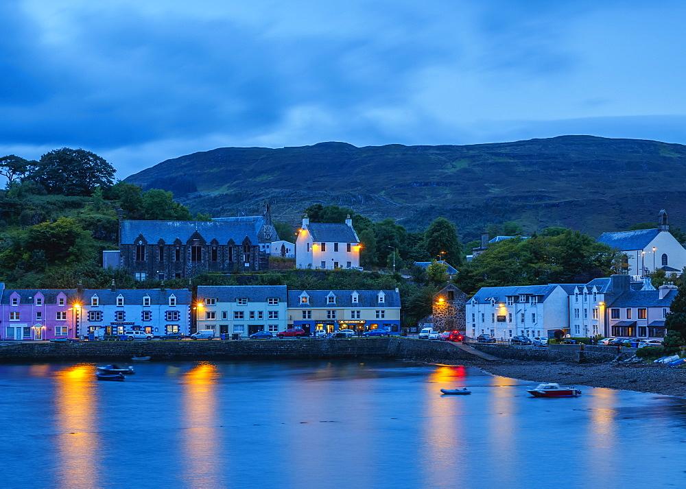 Twilight view of Portree, Isle of Skye, Inner Hebrides, Scotland, United Kingdom, Europe