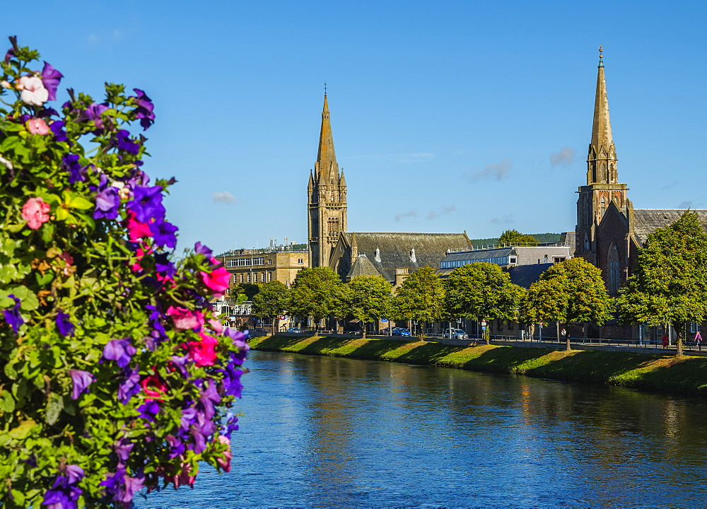View over the River Ness towards the St. Columba and Free North Churches, Inverness, Highlands, Scotland, United Kingdom, Europe