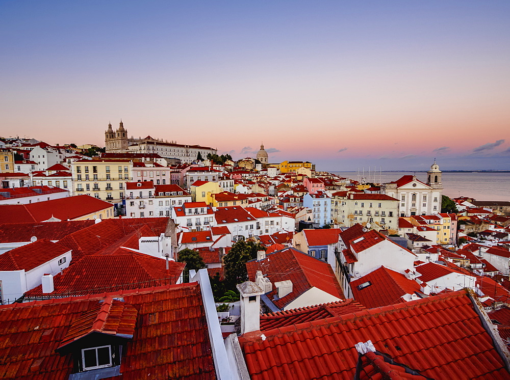 Miradouro das Portas do Sol, view over Alfama Neighbourhood at sunset, Lisbon, Portugal, Europe