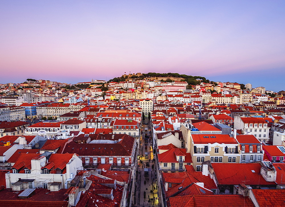 Miradouro de Santa Justa, view over downtown and Santa Justa Street towards the castle hill at sunset, Lisbon, Portugal, Europe