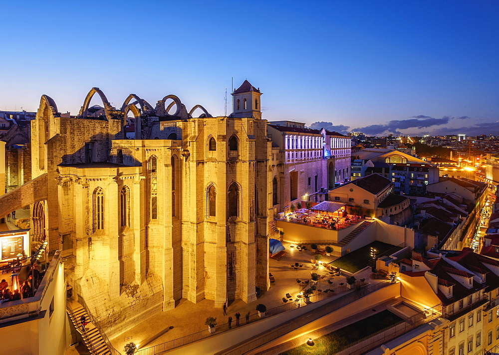 Twilight view of the Carmo Convent, Lisbon, Portugal, Europe