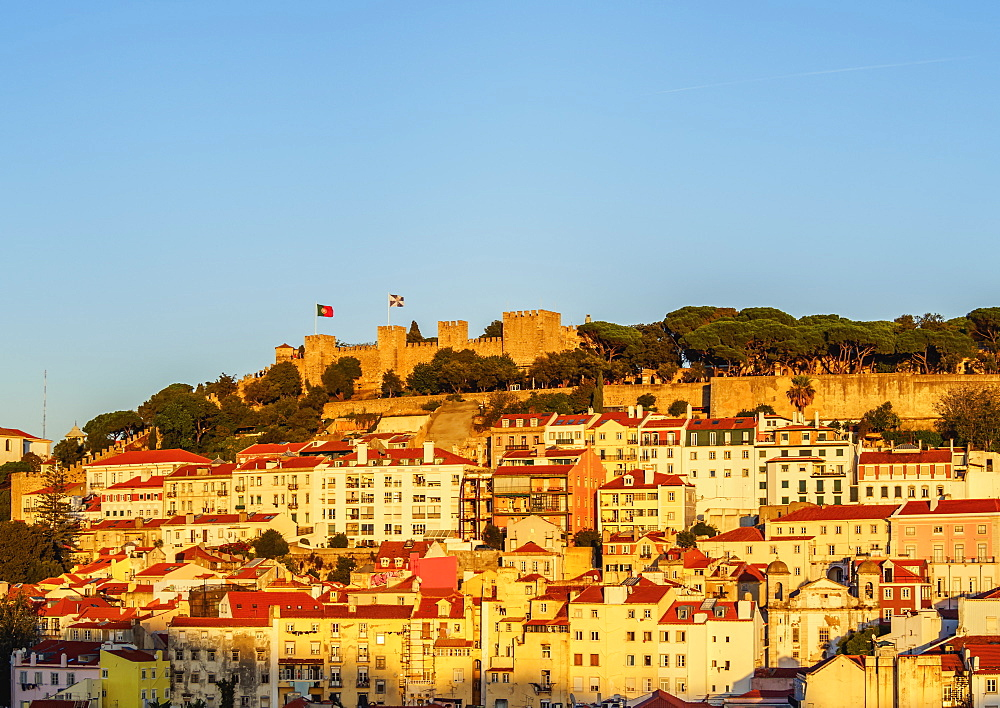 Miradouro de Santa Justa, view towards the Sao Jorge Castle, Lisbon, Portugal, Europe