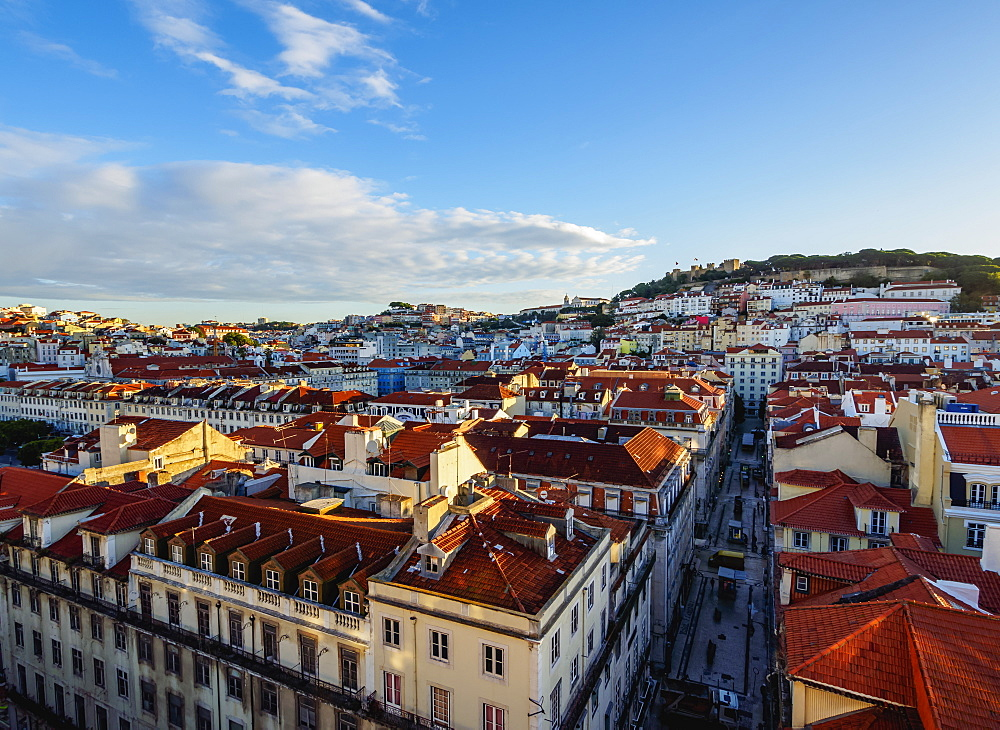 Miradouro de Santa Justa, view over downtown and Santa Justa Street towards the castle hill, Lisbon, Portugal, Europe