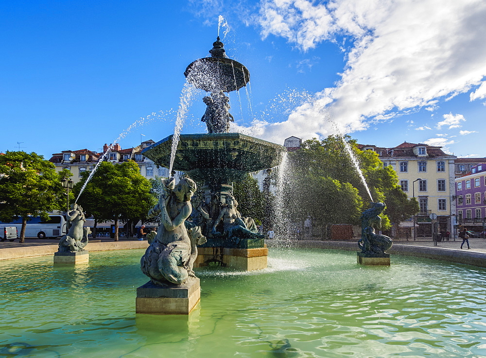 Fountain on the Pedro IV Square, Lisbon, Portugal, Europe