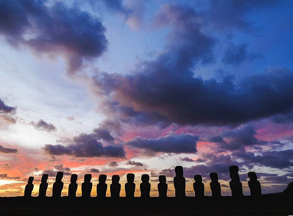 Moais in Ahu Tongariki at sunrise, Rapa Nui National Park, UNESCO World Heritage Site, Easter Island, Chile, South America