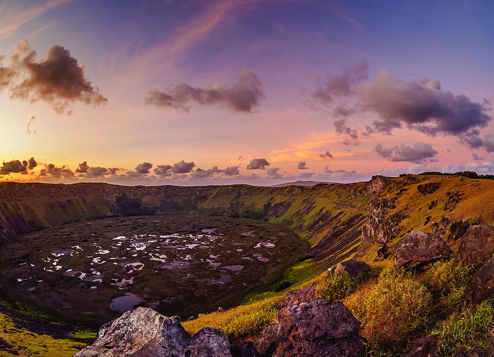 Crater of Rano Kau Volcano at sunset, Easter Island, Chile, South America