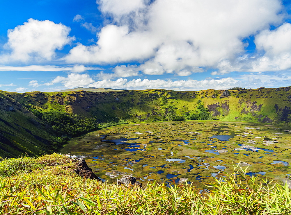 Crater of Rano Kau Volcano, Easter Island, Chile, South America