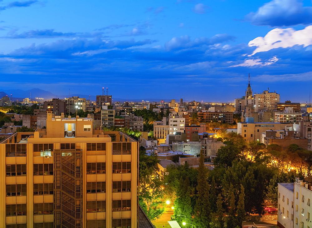 Cityscape of Mendoza, twilight, Argentina, South America