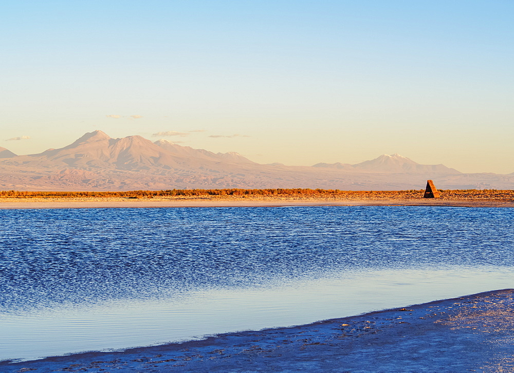Laguna Piedra at sunset, Salar de Atacama, Antofagasta Region, Chile, South America