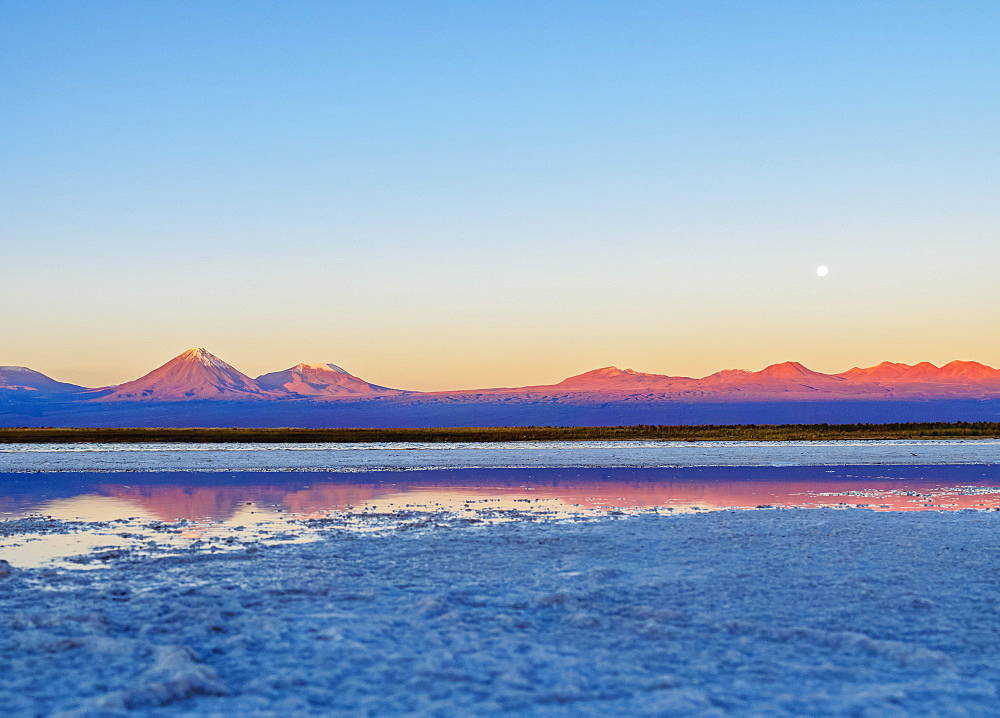 Laguna Baltinache at sunset, Salar de Atacama, Antofagasta Region, Chile, South America