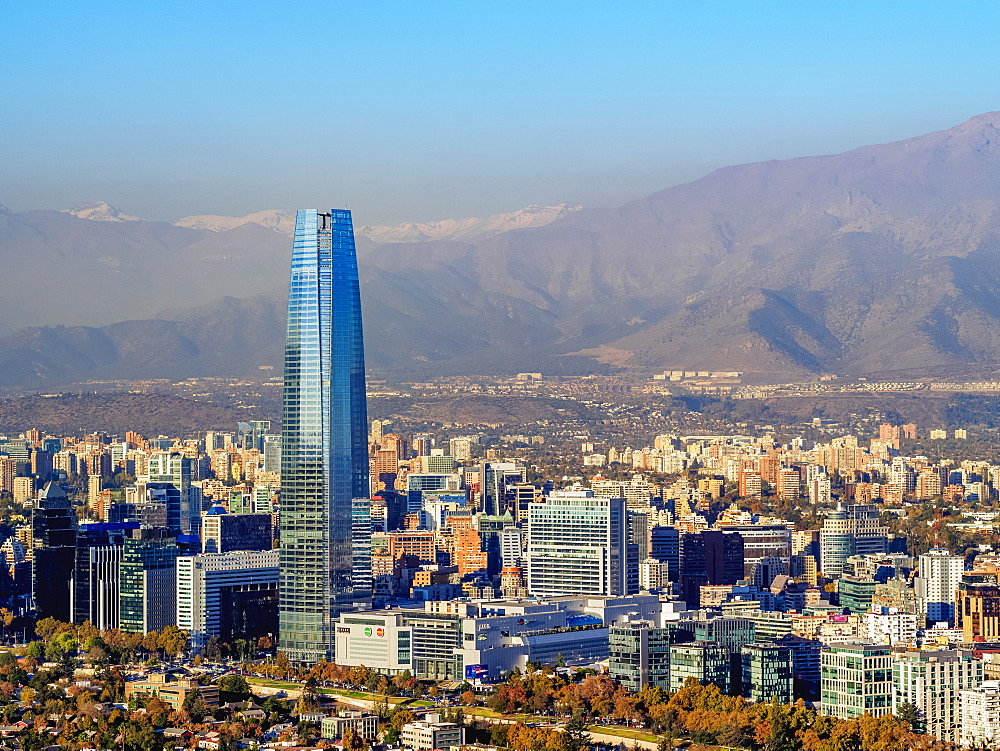 Providencia with Gran Torre Santiago seen from the Metropolitan Park, Santiago, Chile, South America