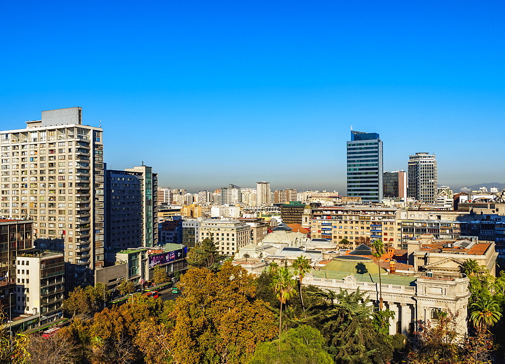 Cityscape seen from the Santa Lucia Hill, Santiago, Chile, South America