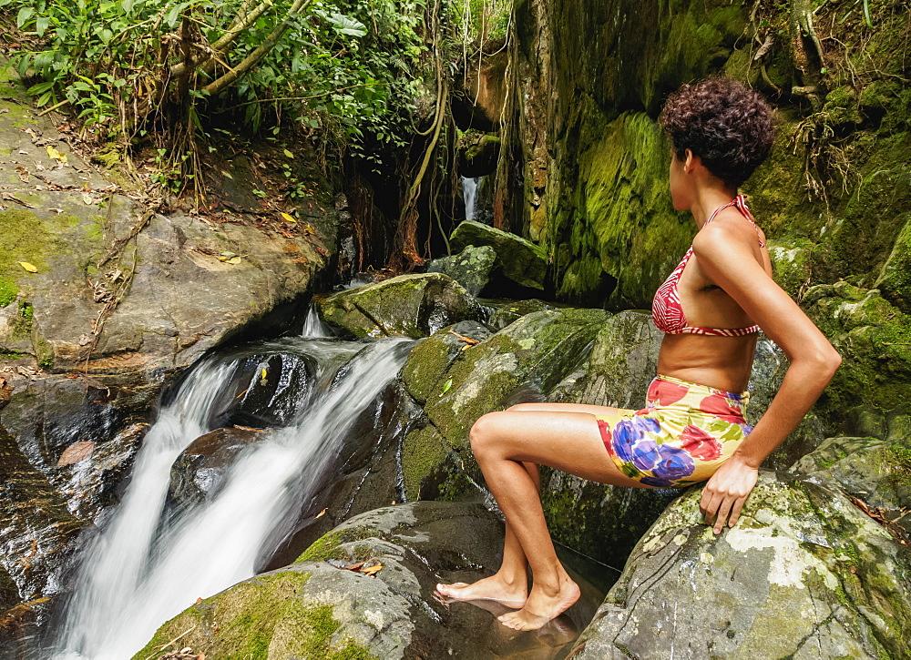 Brazilian model by the Cachoeira Indiana Jones, Nova Friburgo Municipality, State of Rio de Janeiro, Brazil, South America
