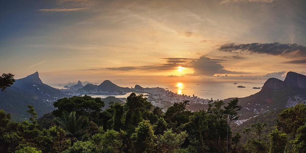 Cityscape from Vista Chinesa at sunrise, Rio de Janeiro, Brazil, South America - 1245-545