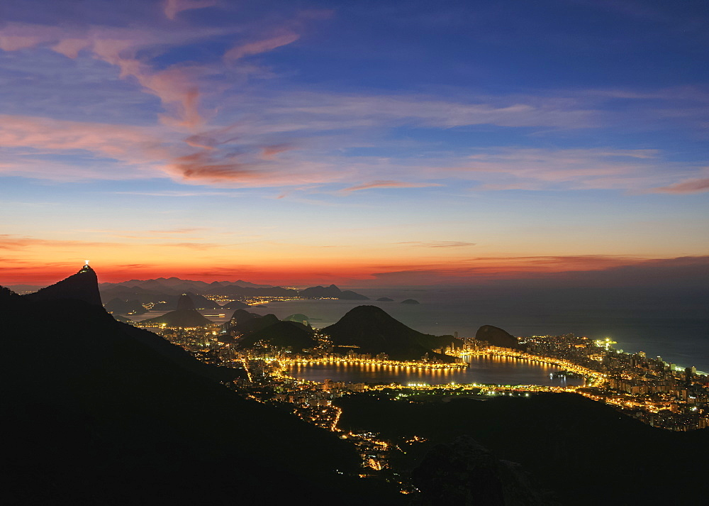 View towards Lagoa Neighbourhood from Tijuca Forest National Park at dawn, Rio de Janeiro, Brazil
