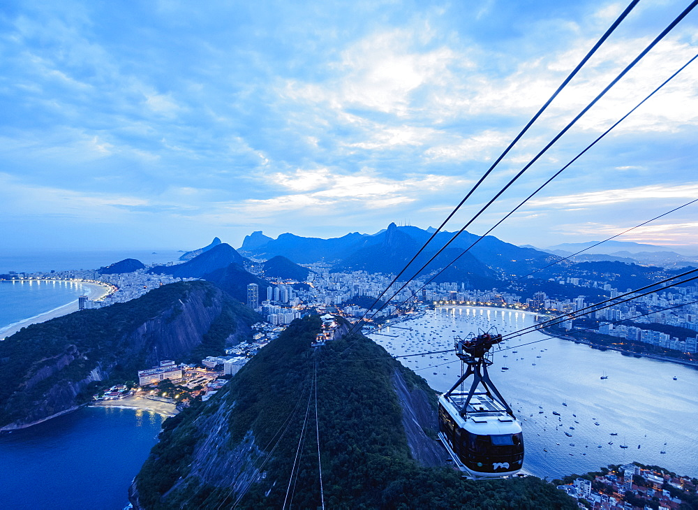 Cable Car to Sugarloaf Mountain at twilight, Rio de Janeiro, Brazil