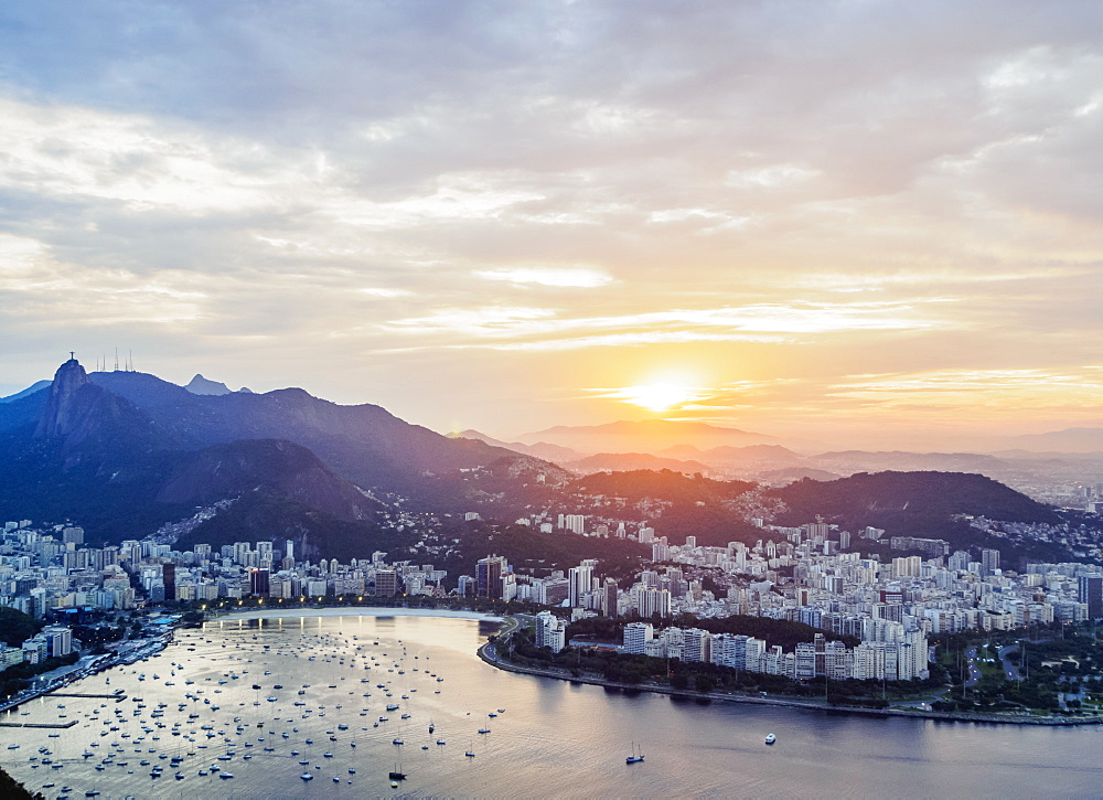 Skyline from the Sugarloaf Mountain at sunset, Rio de Janeiro, Brazil, South America