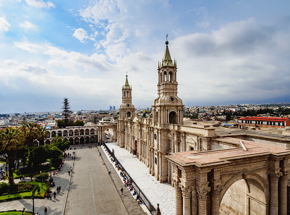 Cathedral, Plaza de Armas, elevated view, Arequipa, Peru, South America