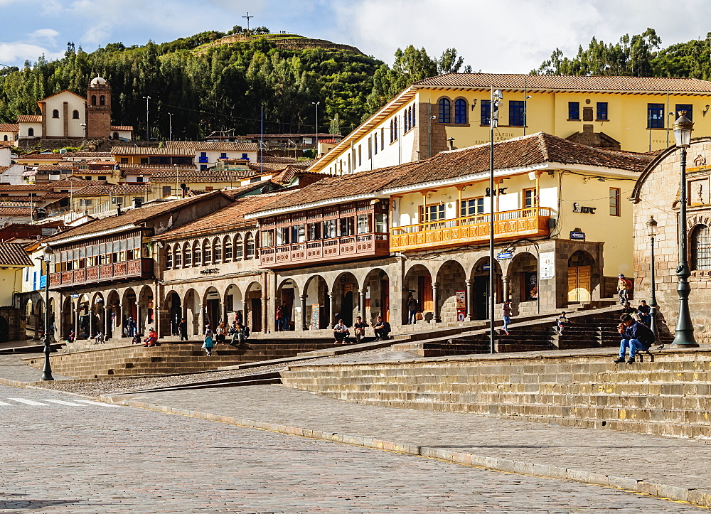 Colonial houses with balconies, Main Square, UNESCO World Heritage Site, Cusco, Peru, South America