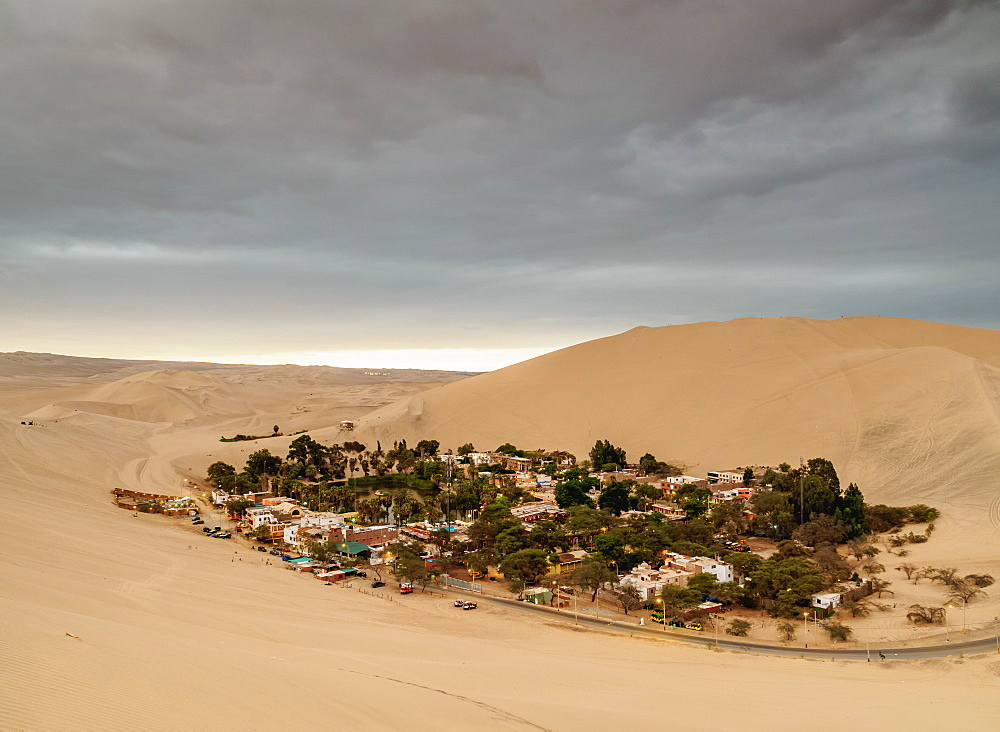 Huacachina Oasis, elevated view, Ica Region, Peru, South America