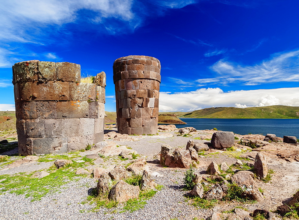 Chullpas by the Lake Umayo in Sillustani, Puno Region, Peru, South America