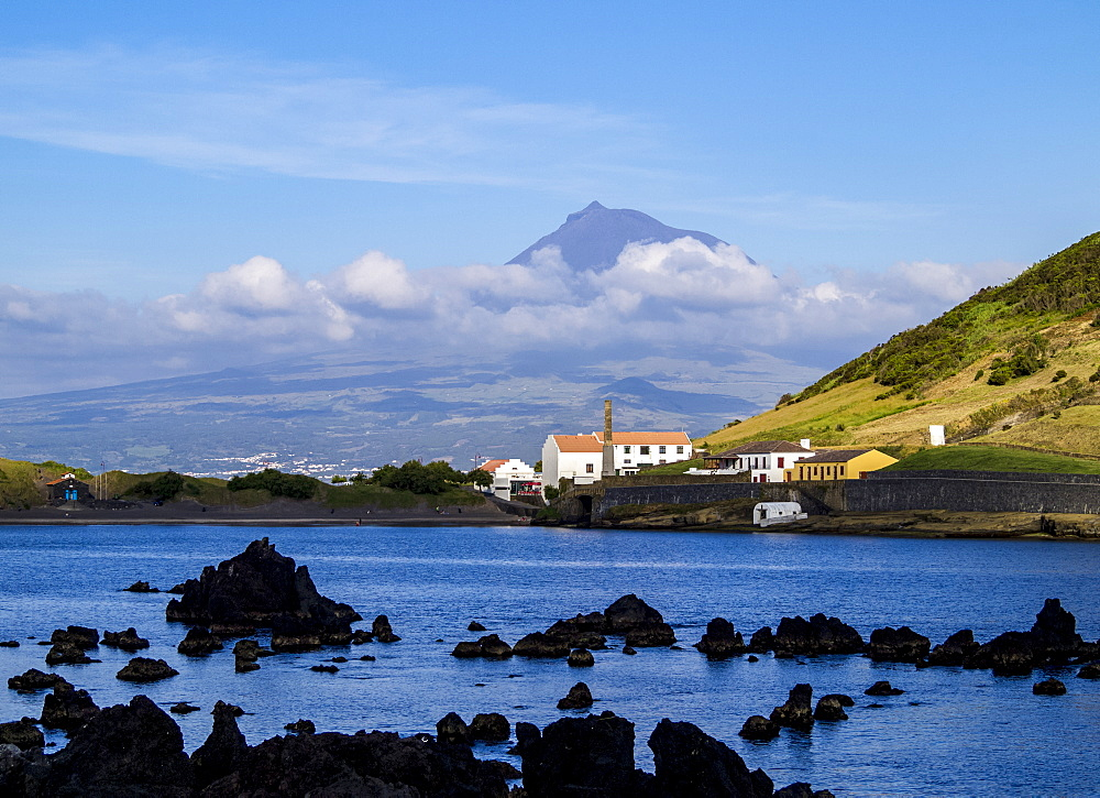 View towards Porto Pim Whaling Station and Pico Mounain, Faial Island, Azores, Portugal