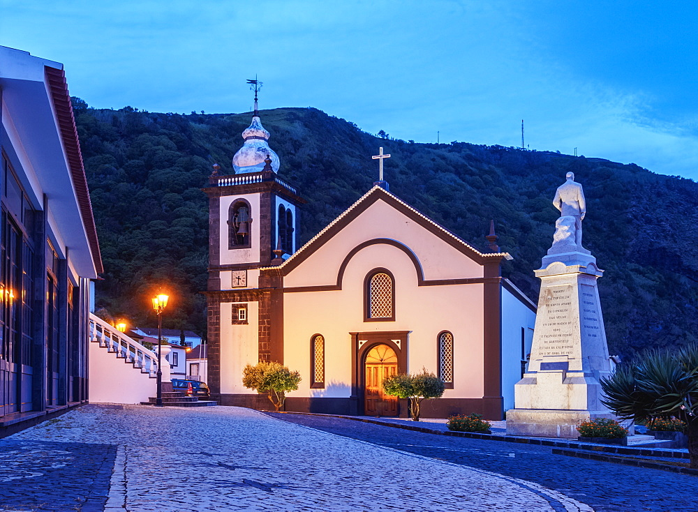 Igreja Matriz de Sao Jorge, Mother Church, Velas, twilight, Sao Jorge Island, Azores, Portugal